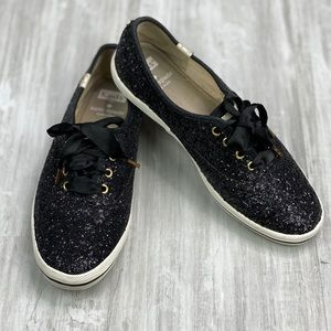 Keds Kate Spade Size 7 Black Glitter Sneakers